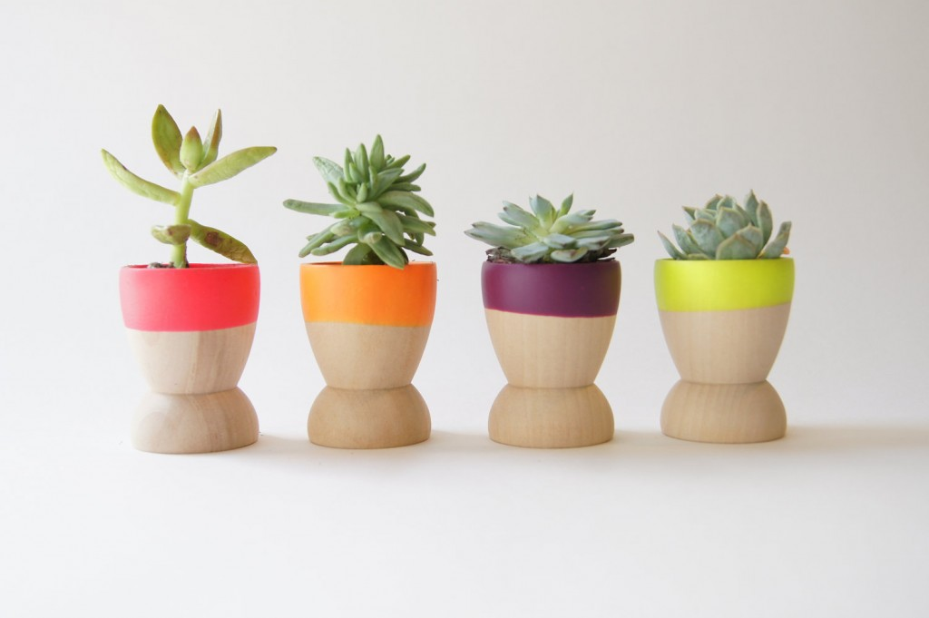 neon wood planters