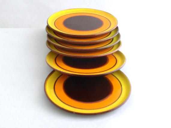 yellow vintage plates