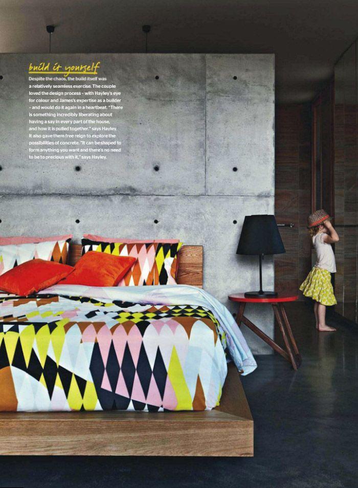 concrete wall bedroom