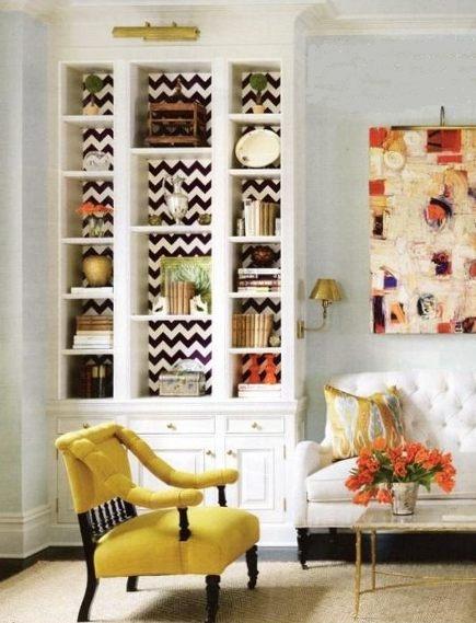 wallpaper behind bookshelves
