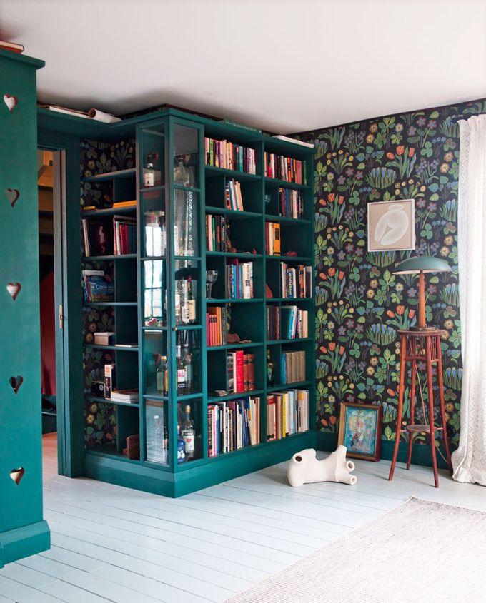 teal bookshelf