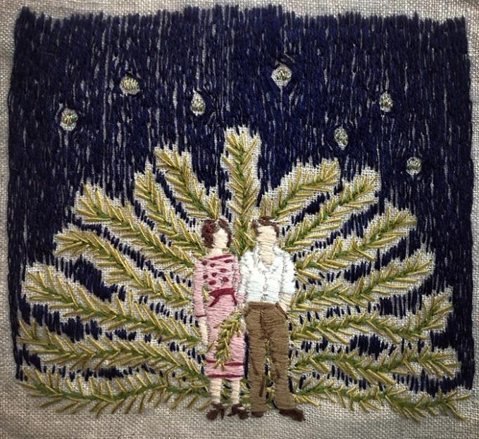 michelle kingdom, embroidered art