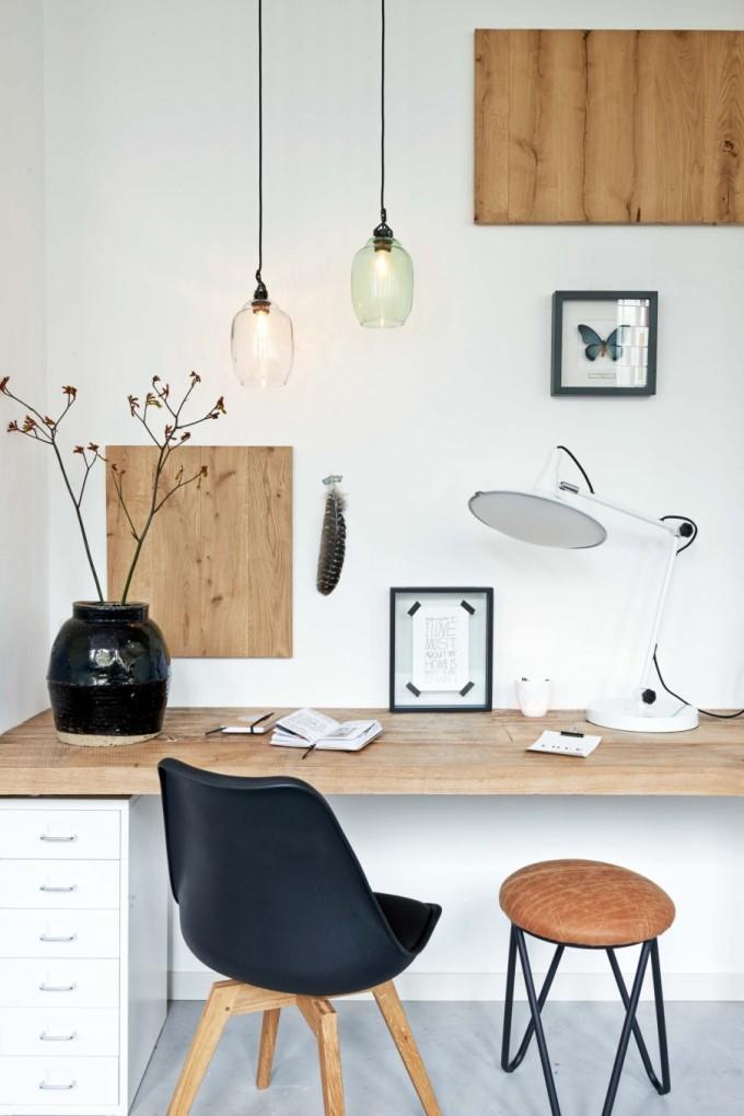 wood plank desk