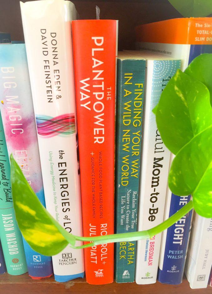 bookshelf of wellness books
